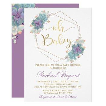Purple Succulents Gold Geometric Baby Shower Invitation
