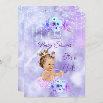 Purple Teal Floral Girl Baby Shower Brunette