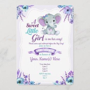 Purple Teal Girl Elephant  Baby Shower