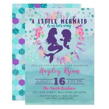 Purple Teal Watercolor Floral Little Mermaid Invitation