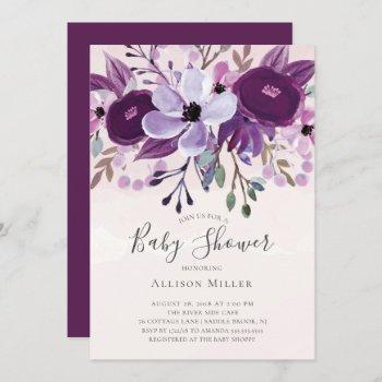 Purple Wildflowers Baby Shower Invitation