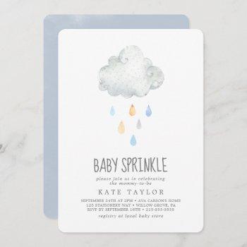 Rain Cloud Boy Baby Sprinkle Invitation