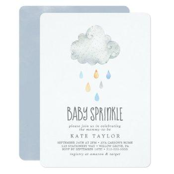 Rain Cloud Boy Baby Sprinkle Invitation