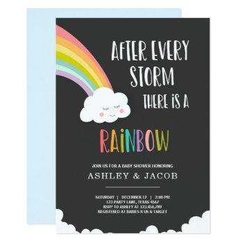 Rainbow After A Loss Boy Baby Shower Invitation