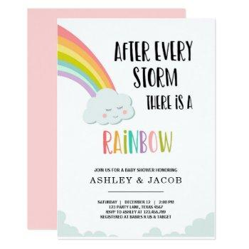 Rainbow After A Loss Girl Baby Shower Invitation