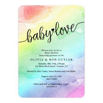 Rainbow Baby Shower Baby Love Invitation