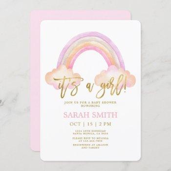Rainbow Baby Shower Girl Invitation