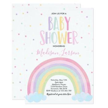 Rainbow Baby Shower Invitation Pastel Rainbow Baby
