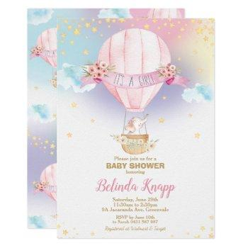 Rainbow Hot Air Balloon Baby Girl Shower Elephant Invitation