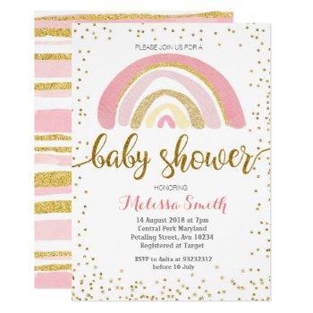 Rainbow Pastel Baby Shower Invitation Card Girl