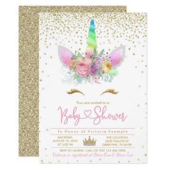 Rainbow Unicorn Baby Shower Invitation