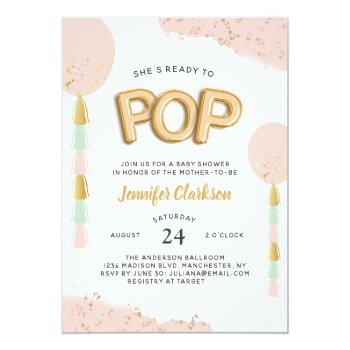 """ready To Pop"" Baby Shower Balloons Invitation"