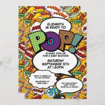 Ready To Pop Baby Shower Comic Book Modern Invitation