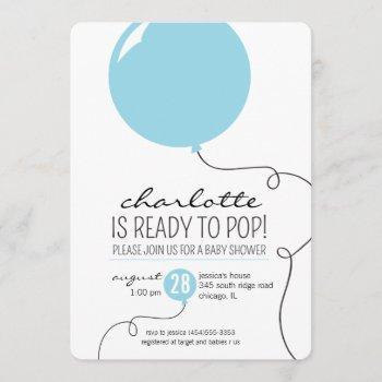Ready To Pop Blue Balloon Boy Baby Shower Invite