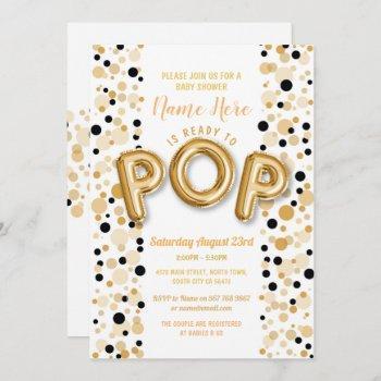 Ready To Pop Boy Baby Shower Gold & Black Elegant Invitation