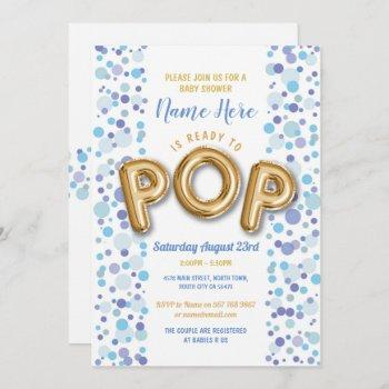 Ready To Pop Boy Baby Shower Gold & Blue Invite