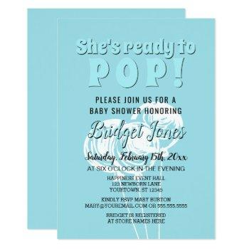 Ready To Pop Chalk Balloons Baby Blue Boy Shower Invitation