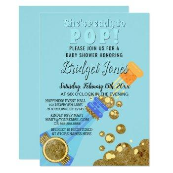 Ready To Pop Champagne Baby Blue Boy Shower Invitation