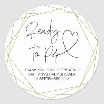 Ready To Pop Cute Baby Shower Simple Gold Classic Round Sticker