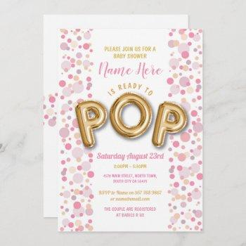 Ready To Pop Girl Baby Shower Gold & Pink Invite