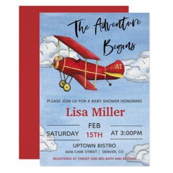 Red Airplane Adventure Boy Baby Shower Invitation