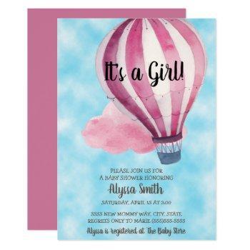 Red Balloon Blue Sky Baby Girl Baby Shower Invitation