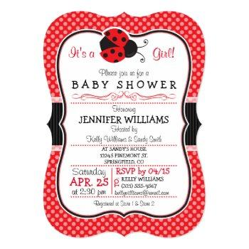 Red & Black Ladybug; Cute Baby Shower Invitation