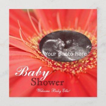 Red Daisy Flower Child Sonogram Baby Shower Invite
