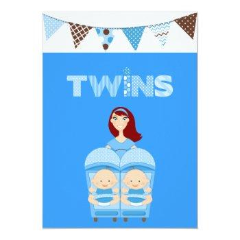 Red Hair  Double The Trouble Twin Boys Invitation