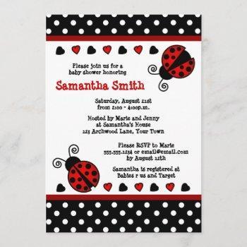 Red Ladybug Baby Shower Black And White Polka Dots Invitation