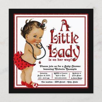 Red Ladybug Ethnic Girl Ladybug Baby Shower Invitation