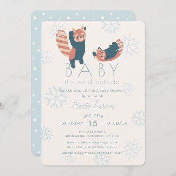 Red Pandas Snowflakes Baby Shower Invitation
