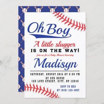 Red White Blue Little Slugger Baseball Baby Shower Invitation