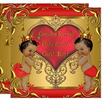 Regal Red Gold Gender Reveal Baby Shower Ethnic Invitation