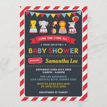 Retro Carnival Circus Animals Baby Shower Invite