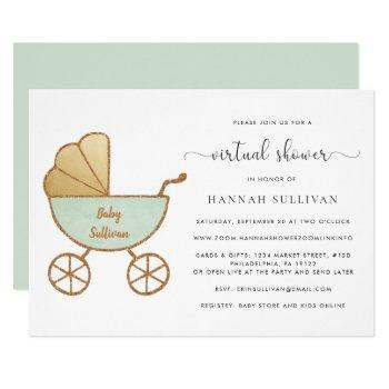 Retro Carriage Watercolor Mint Virtual Baby Shower Invitation