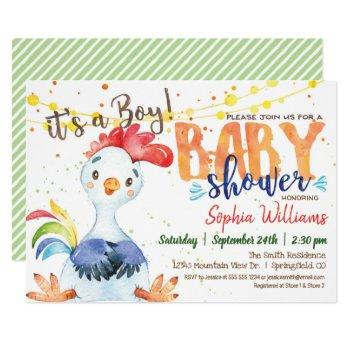 Rooster Baby Shower Invitation, Boy, Farm Invitation