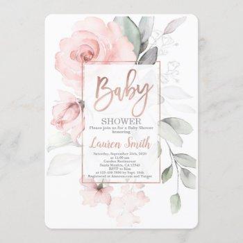 Rose Gold Baby Shower Invitation