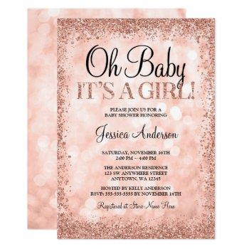 Rose Gold Faux Glitter Lights Girl Baby Shower Invitation