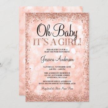 Rose Gold Faux Glitter Lights Girl Baby Shower Invitation