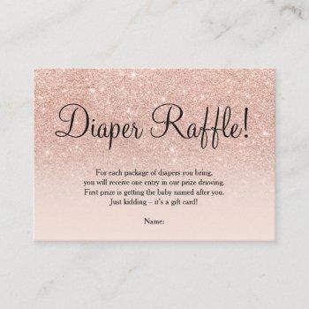 Rose Gold Faux Glitter Pink Ombre Diaper Raffle Enclosure Card