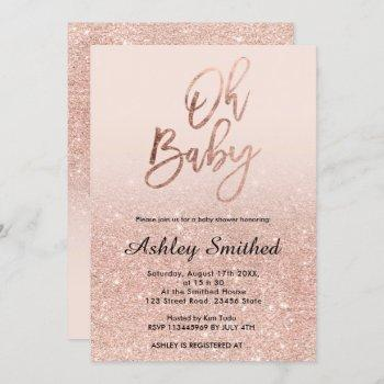 Rose Gold Faux Glitter Pink Ombre Oh Baby Shower Invitation