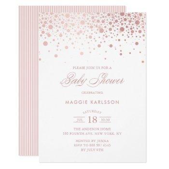 Rose Gold Foil Confetti Baby Shower Invitation
