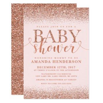 Rose Gold Fox Glitter Baby Shower Invitation