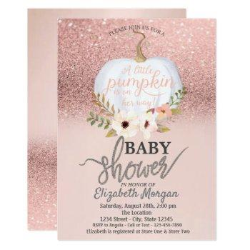 Rose Gold Glitter Bokeh, Pumpkin Baby Shower Invitation