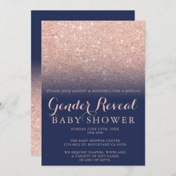 Rose Gold Glitter Navy Blue Gender Reveal Baby Invitation