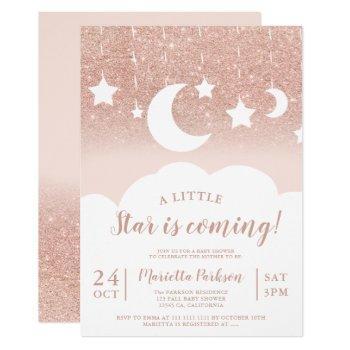 Rose Gold Glitter Star Moon Cloud Baby Shower Invitation