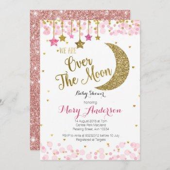 Rose Gold Moon Baby Shower Invitation For Girl