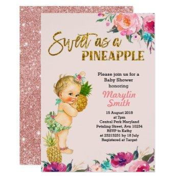 Rose Gold Pineapple Baby Shower Invitation