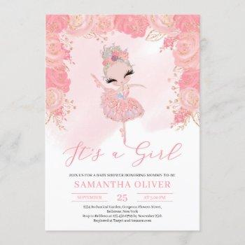 Rose Gold Tutu Ballerina Blush Bloral Baby Shower Invitation